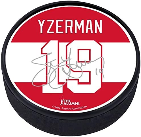 Mustang Steve Yzerman Detroit Red Wings Textured Hockey Puck with Replica Signature
