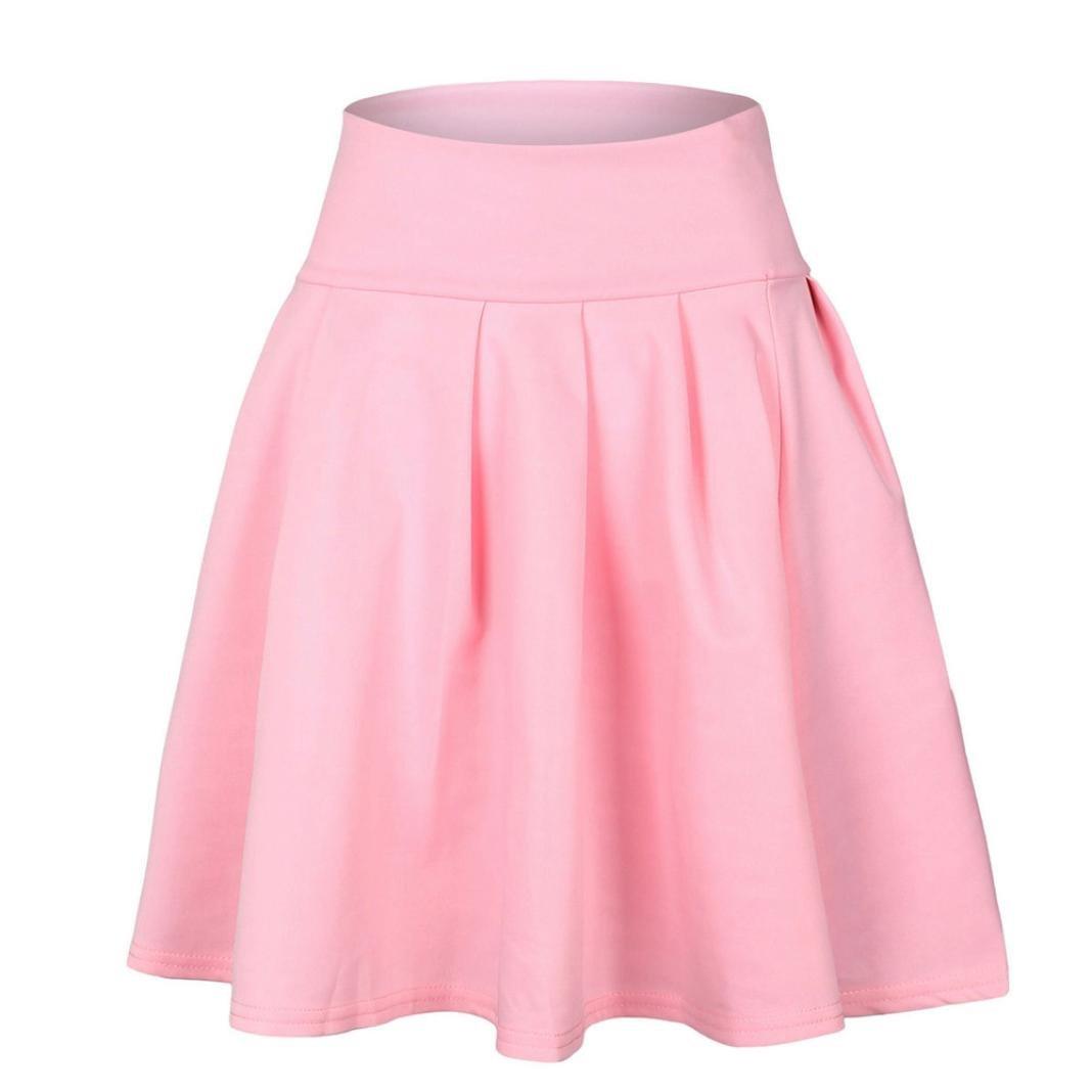 Bluester Women Lady Skater Flared Sweet Short Mini Skirt Pleated Princess  High Waist Skirt: Amazon.co.uk: Clothing