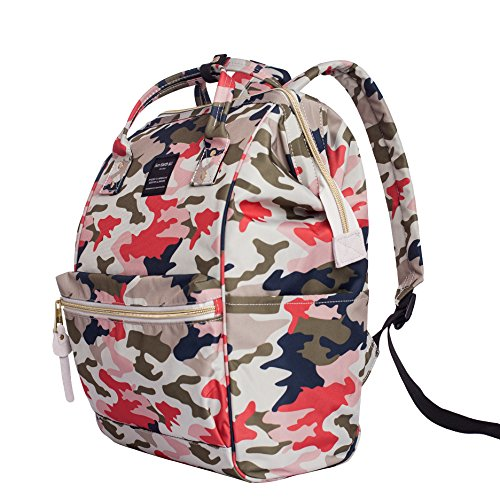 Canvas School Backpack, Waterproof College Laptop Bookbag, Wide Opening Large Capacity Big Student Bag, Multi-Functional Travel Backpack for Men and Women(camouflage Pink)