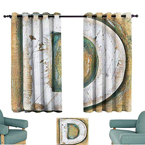 Mannwarehouse Letter C Noise Reduction Curtain Rustic Initials C Capital Letter Name with Old Fashion Grunge Effects for Living, Dining, Bedroom (Pair) 63