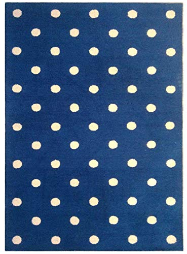 Area Rug 5x8 Hand-Tufted Using Wool in Blue Background with White Polka Dot Design | for Indoor -