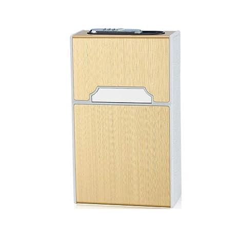 LXYIUN Cajas de Cigarrillos,Pitillera de Carga A6 Metal Cepillado Carga USB Encendedor Todo el