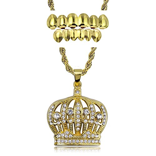 (TOPGRILLZ Hip Hop Iced Out Royal King Crown Pendant Necklace with Gold Grillz Top and Bottom)