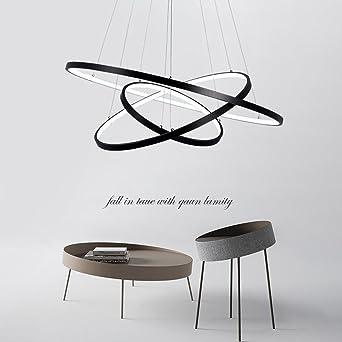 LED 3 Ring Pendelleuchte Hängeleuchte Leuchte Licht Modern Elegant Runden  Entwurf Esszimmer Kronleuchter Schwarz Acryl