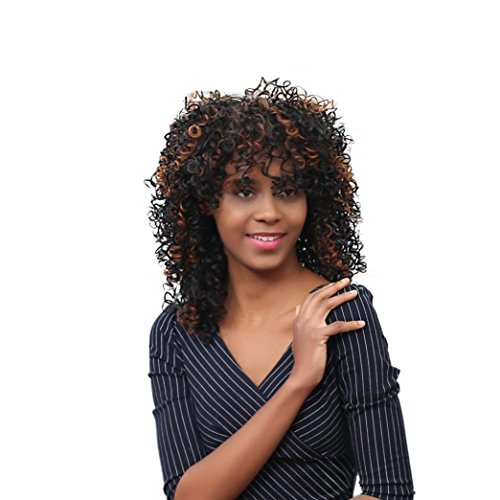 Hot!! Short Deep Wave Bob Wigs Sexy Kinky Curly Glueless for Black Women Cosplay Party Dress Heat Safe Synthetic Hair Wig (48CM, Black/Brown Mix Color)
