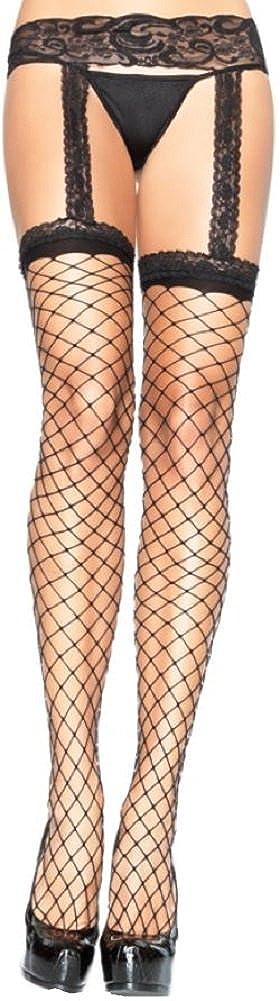 Leg Avenue Damen Netz Strumpfband grob mit Strü mpfen in schwarz transparent Einheitsgrö ß e ca. 36 bis 40 Leg50922498232