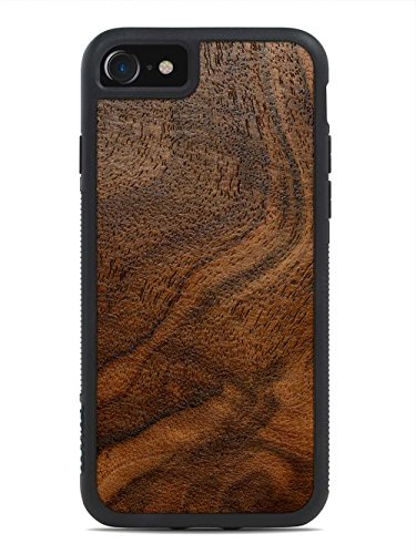 Wood Traveler Case (Walnut Burl by Carved - Apple iPhone 7 Wood Traveler Case - Black Protective Bumper with Real All Wooden)