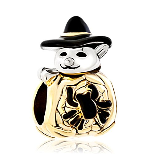 LovelyJewelry Wizard Halloween Cute Spider Snowman Wearing Black Gentleman Hat Charms Beads For Bracelets - Snowman Charm Black