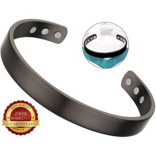 BisLinks® 99.9% Dark Grey Cobre Magnetic Health Pulsera con Fuerte ...
