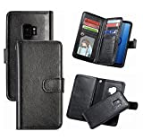 S9 Wallet Case,Hynice Detachable PU Leather Case Wireless Charging Compatible With 9 card Slots Holder Magnetic Removable Slim Shockproof Shell Cover for Samsung Galaxy S9 5.8 inch (9 Card-Black)