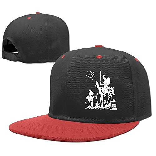 (Woonmo Children's Hip Hop Baseball Cap Picasso Art Kid's Cute Cool Fitted Cap with Adjustable Snapback Hip Hop Hat Red)