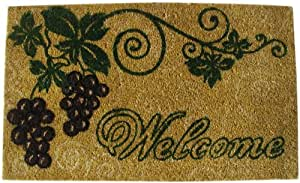 GeoCrafts G108 PVC Backed Coco Door Mat, Welcome with Grapes