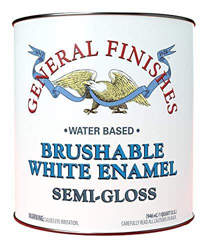 (General Finishes Brushable White Enamel, 1 Quart, Semi-Gloss )