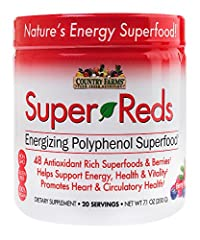 According to the Centers for Disease Control, only 1 in 10 Americans consume the fruits and vegetables they need on a daily basis. Now you can obtain the many benefits of eating healthy with Country Farms Super Reds superfood powder. Super Re...