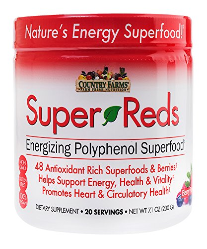 Country Farms Super Reds Energizing Polyphenol Superfood, Antioxidants, Drink Mix, 20 ()