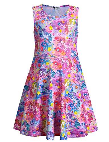 Jxstar Little Girls Unicorn Dresses Sleeveless Summer Twirl Dress for Kids ()