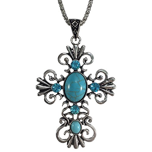 Cross Swirl Small Charm - Simulated Turquoise & Rhinestone Silver Tone Open Swirl Cross Necklace (Blue)