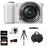 Sony Alpha a5000 Mirrorless Digital Camera w/ 16-50mm Lens (White) & Sony 32GB SD Card Bundle