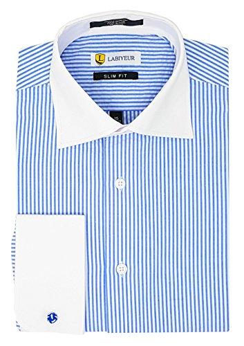 (Labiyeur Slim Fit Spread Collar French Cuff Men's Cotton Dress Shirt 16 | 35-36 Blue/White Stripe)