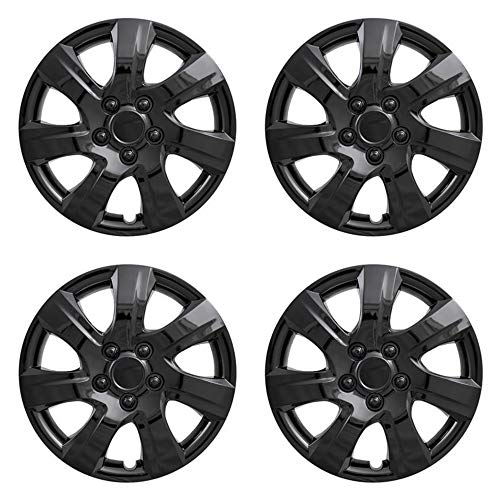 MARROW New Wheel Covers Hubcaps Fits 2010-2011 Toyota Camry; 16 Inch; 7 Spoke; Gloss Black; Plastic; Set of 4; Spring Steel Clip; These are not a Bolt-on hubcaps