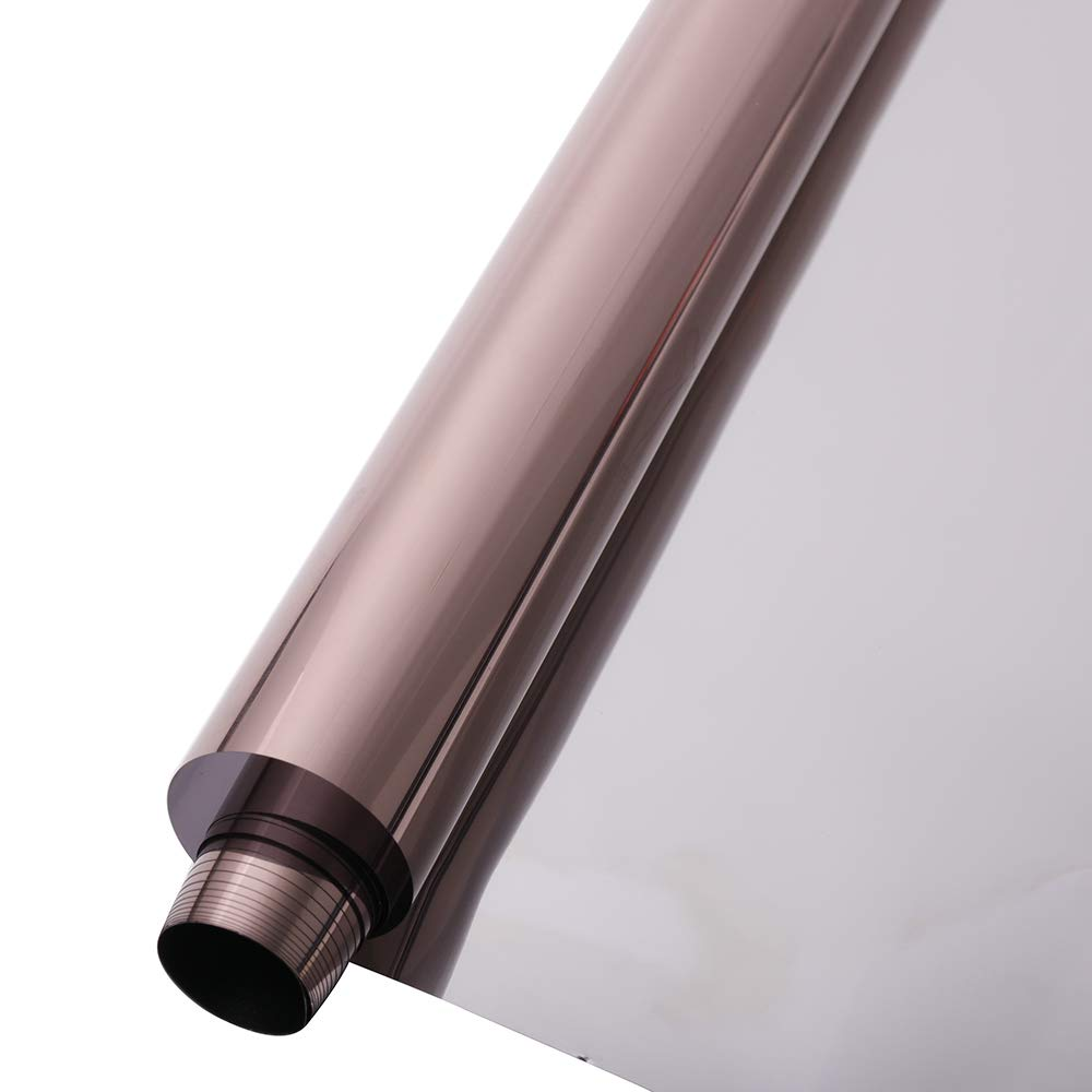 Sunice 35.4inch x 100ft Roll Bronze Silver Reflection Window Film Daytime Privacy Mirrored Film One Way Residential Window Tint Sun Blocking Heat Rejection for Home Office by Sunice