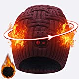 SVPRO Rechargeable Battery Heated Beanie Hat,7.4V Li-ion Battery Warm Winter Heated Cap,Works up to 3-7H (Wine red-HS)