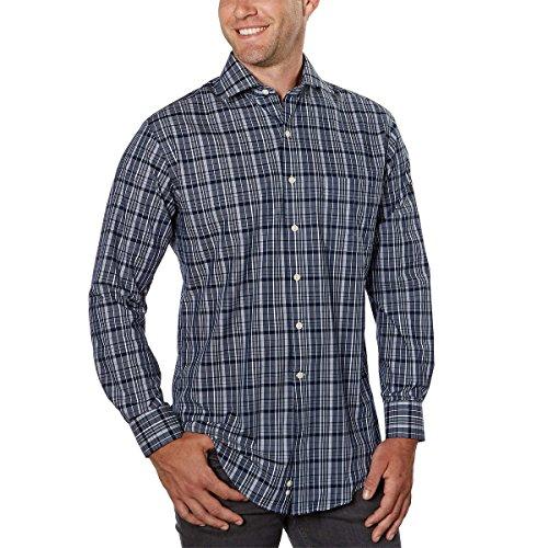 Kirkland Signature Men's Long Sleeve Cotton Non Iron Sport Shirt! (Navy White, Medium)