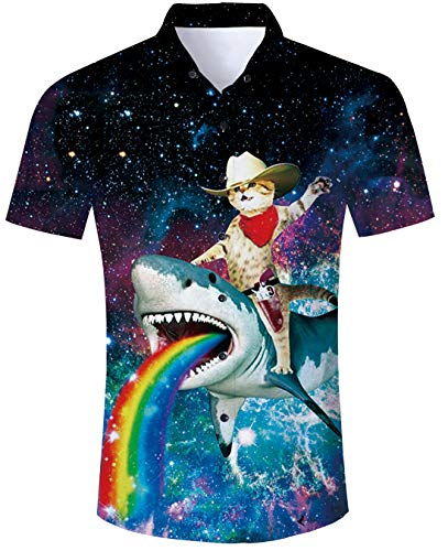 Captain Cat Shirt 90s Awesome Captain Cat Riding Shark with Rainbow Pattern Funny Short Sleeve Shirt Hawaiian Shirt Short Sleeve Green Casual Aloha Hawaiian Beach Party Shirt for Mens