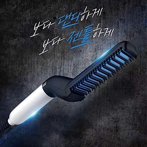 Quick Hair Styler for Men, Hair Curling Iron Men's Ceramic Hair Styling Iron Comb Straightener Curler Set -