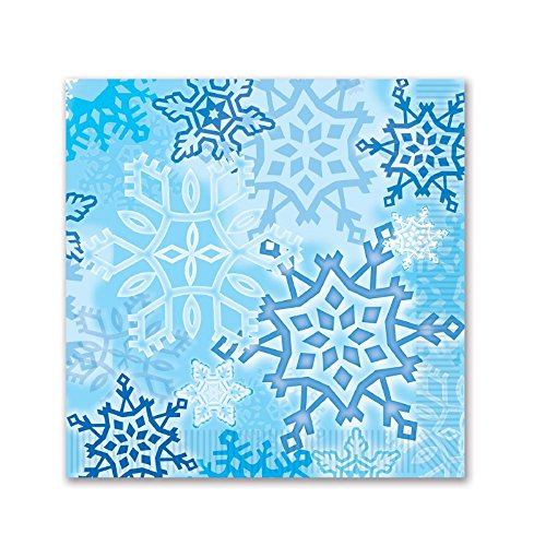 - Club Pack of 192 Blue Snowflake Swirls Disposable Paper Beverage Napkins 5