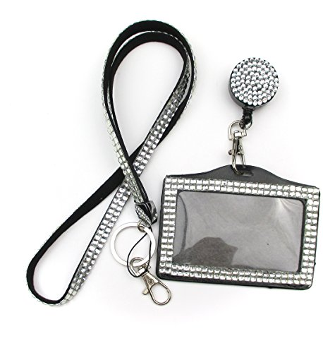 ALL in ONE Rhinestone Lanyard Bling Crystal Necklace + Badge Reel + Horizontal Card Holder for Business Id/key (WHITE)