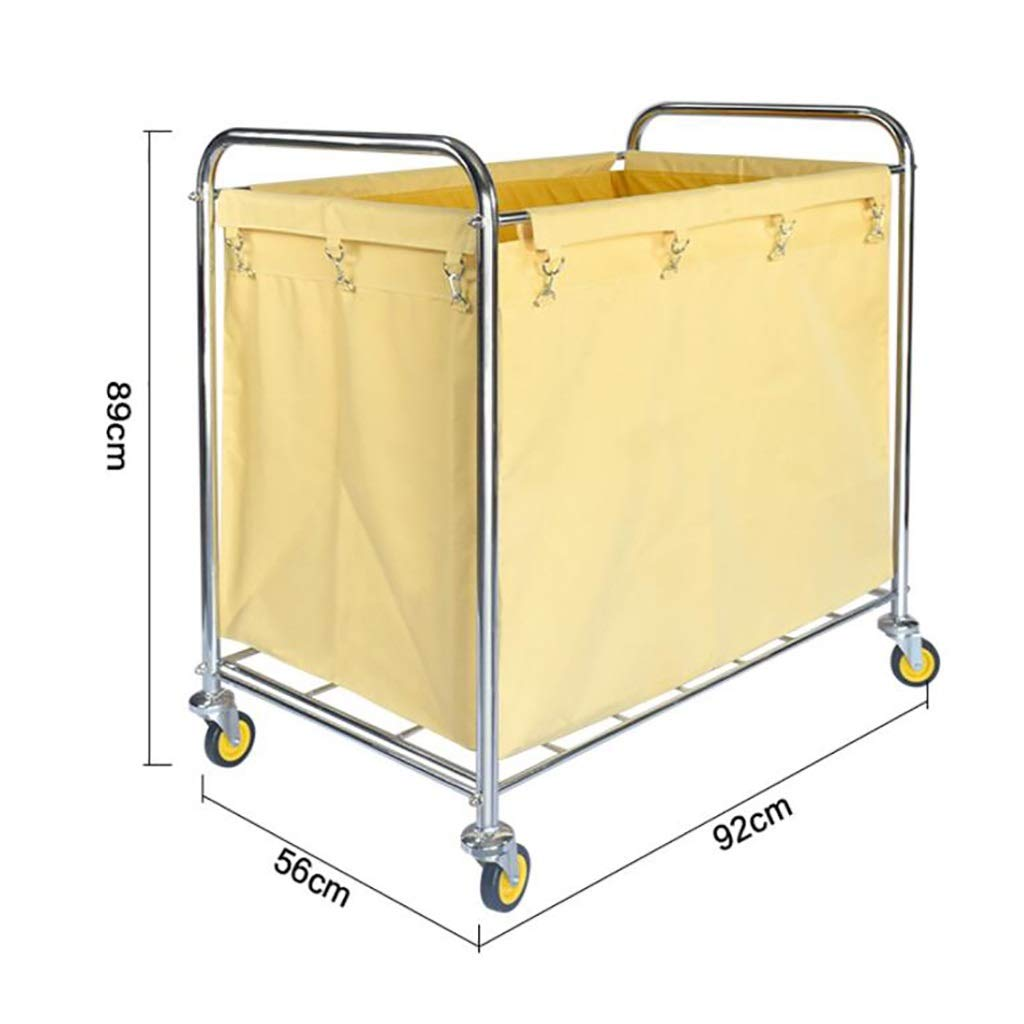 Hotel cart, Stainless Steel Thick Linen car Hotel Hotel Room Cleaning Hand Push Work car by HT trolley (Image #3)