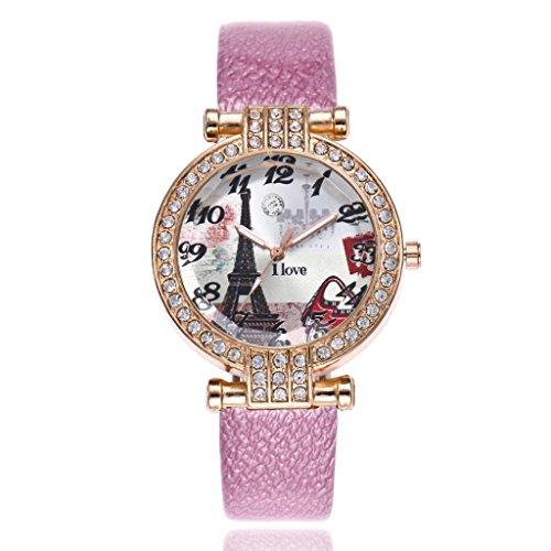 Sinwo Women Fashion Eiffel Tower Leather Band Analog Quartz Round Wrist Watch Watches Gift! - Leather Eiffel