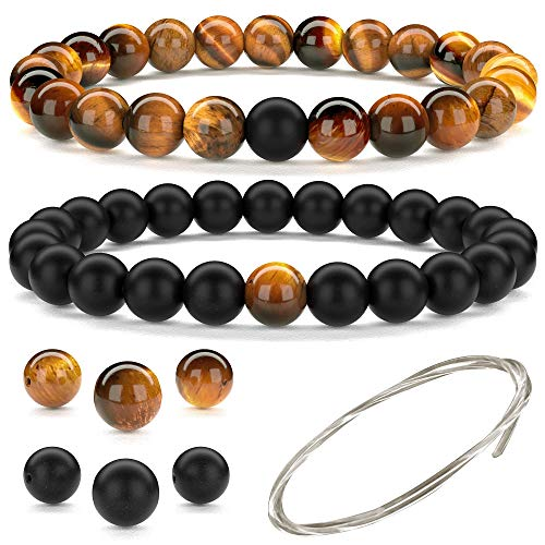 Beaded Gemstone Bracelets for Men and Women: Brown Tiger Eye and Black Onyx Bracelet Sets with Spare Beads and Crystal Elastic Cord - Mens and Womens Boho Jewelry - 7.25 Inch Bead Bracelets 8mm Beads