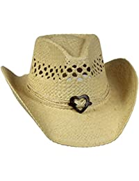 e0d415591b8ee Vented Straw Cowboy Hat w Wood Heart Band –Shapeable Cowgirl Western