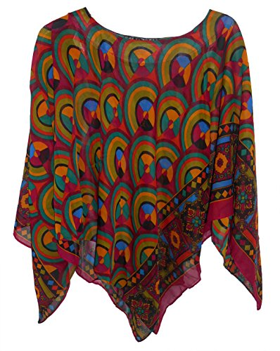 - Chiffon Casual Poncho in Variety of Prints, One Size for XS-XL, Style#PN-02 (Retro Circles)