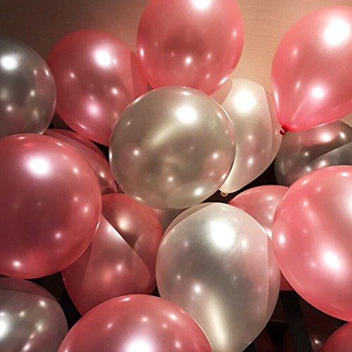 72 PCS( white &silver & Pink) 12 Inch Latex Thicked Balloons Round Pearlized Balloon Cartoon Toy Wedding Birthday Party - Silver Pink And