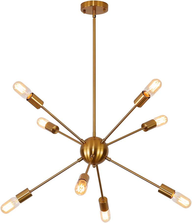 8-Lights Sputnik Chandelier Gold Light Fixture Hanging Rustic Pendant Lighting Modern Decor Mid Century Brass Light for Living Dining Room Bedroom Kitchen Indoor