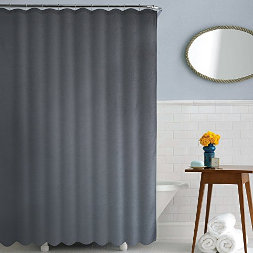 Deconovo Water Resistant Bath Curtain Water-Repellent Shower Curtains Solid Oxford Curtain for Bath Room 72W x 72L Inch Grey