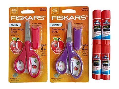 School Supplies Bundle: Fiskars 5 Blunt-Tip Kid Scissors with Sheath - Set of 2 & Elmers Glue Sticks - Set of 4 (Purple & Red) (Fiskars Scissors Pack 2)