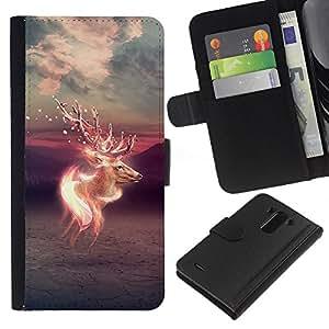 // PHONE CASE GIFT // Moda Estuche Funda de Cuero Billetera Tarjeta de crédito dinero bolsa Cubierta de proteccion Caso LG G3 / Psychedelic Deer /