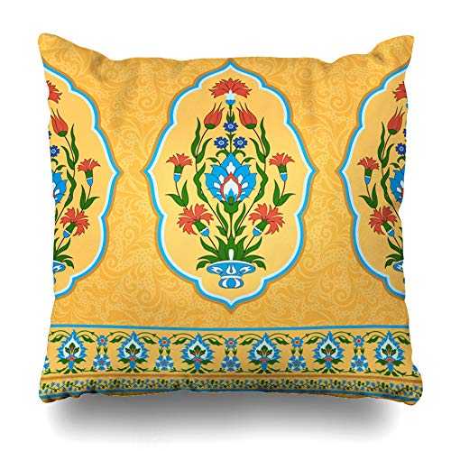 (Ahawoso Throw Pillow Cover Turkish Yellow Asian Ornamental Pattern Eastern Arabic Border Bouquet Carnation Damask Floral Design Home Decor Pillowcase Square Size 18 x 18 Inches Zippered Cushion Case )