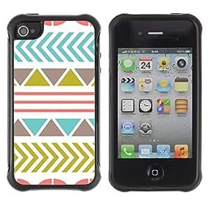 Suave TPU GEL Carcasa Funda Silicona Blando Estuche Caso de protección (para) Apple Iphone 4 / 4S / CECELL Phone case / / Pattern Olive Teal Pink Abstract /