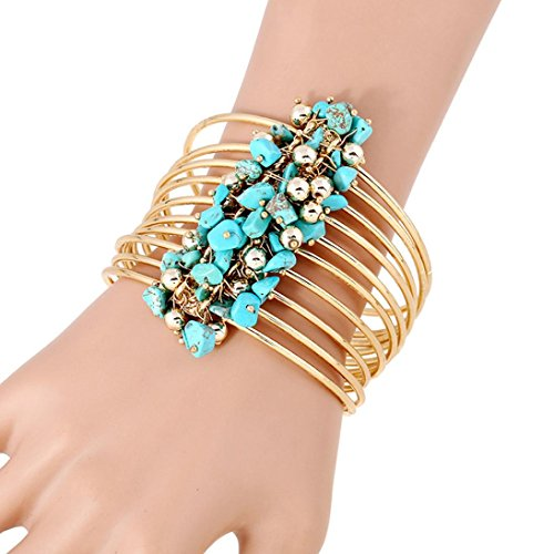 KESEE Fashion Women Multilayer Gold Silver Resin Stone Bangle Charm Bracelet (blue)