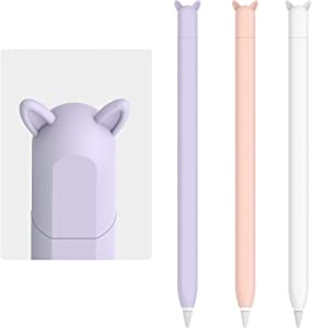 3 Pack Cute Ear Case Silicone Skin Cover for Apple Pencil 2nd Generation Accessories Compatible with iPad Pro 11 12.9 inch(White, Pink,Purple)