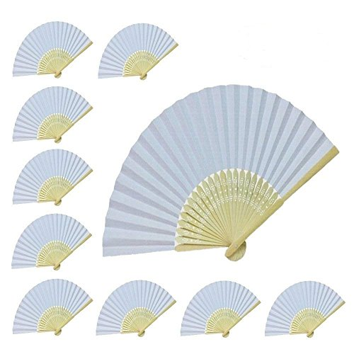 WEN FEIYU Women Hand Held Folding Paper Fan Wedding Party Favor fan 10 pcs (White paper fan) by WEN FEIYU