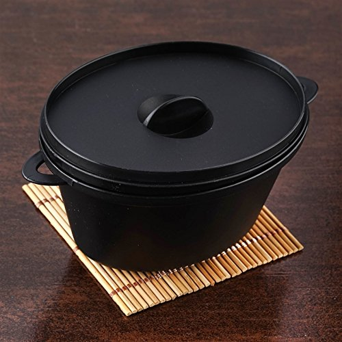 Black 12Oz Cooking Pots W/ Lid And Handles (Fork Pom Handle)