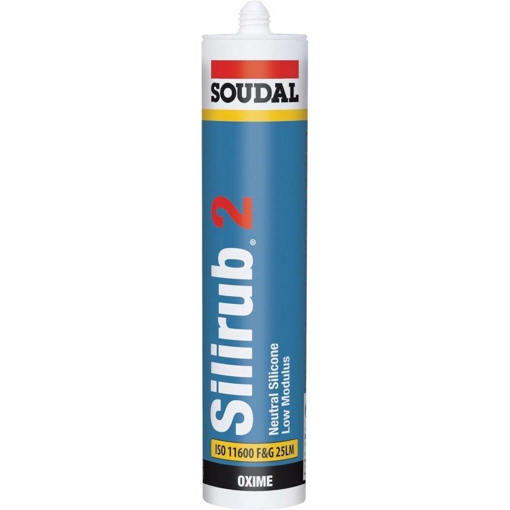Soudal 102066'Silirub 2' Neutral Silicone, Glossy White, 310 ml