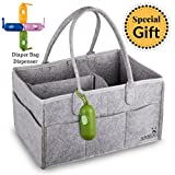 Baby Diaper Caddy Organizer | Portable Changing Table Nursery Storage Bin | Wipes Toys Basket | Baby Shower Gift | Mom Bag for Essentials | Gray Felt Boy and Girl Car Travel Bag Tote Organizer
