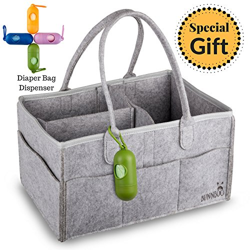 Baby Diaper Caddy Organizer | Portable Changing Table Nursery Storage Bin | Wipes Toys Basket | Baby Shower Gift | Mom Bag for Essentials | Gray Felt Boy and Girl Car Travel Bag Tote Organizer by Bunnboo